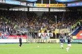 NAC Breda supporters in het uitvak Willem II. Foto: Maurice van Steen