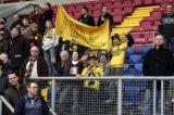 NAC Breda supporters met spandoek. Foto: Maurice van Steen