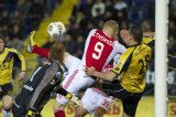 (L-R) goalkeeper Jelle ten Rouwelaar of NAC Breda, Kolbeinn Sigthorsson of Ajax, Kenny van der Weg of NAC Breda
