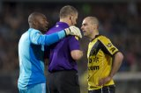 (L-R) goalkeeper Kenneth Vermeer of Ajax, referee Richard Liesveld, Anthony Lurling of NAC Breda