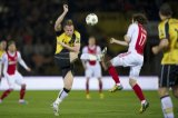 (L-R) Jordy Buijs of NAC Breda, Daley Blind of Ajax