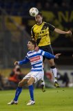 (L-R) Youness Mokhtar of PEC Zwolle, Sepp de Roover of NAC Breda