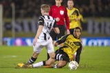 (L-R) Ben Rienstra of Heracles Almelo, Anouar Hadouir of NAC Breda