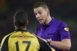 (L-R) Anouar Hadouir of NAC Breda, referee Pol van Boekel