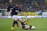 (L-R) Philipp Haastrup of Willem II, Jordens Peters of Willem II, Anthony Lurling of NAC Breda