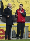 (L-R) coach Jurgen Streppel of Willem II, 4th official Dennis Higler