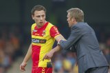 (L-R) Xandro Schenk of Go Ahead Eagles, coach Foeke Booy of Go Ahead Eagles