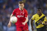 (L-R) Tim Breukers of FC Twente,  Jeffrey Sarpong of NAC Breda