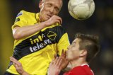 (L-R) Henrico Drost of NAC Breda, Torgeir Borven of FC Twente