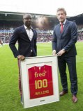 (L-R) Jetro Willems of PSV, technical director Marcel Brands of PSV 100th game of PSV