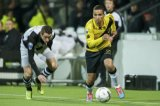 (L-R) Marc Uth of Heracles Almelo, Anouar Hadouir of NAC Breda