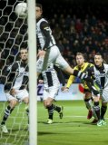 (L-R) Simon Cziommer of Heracles Almelo, Marc Uth of Heracles Almelo, Jordy Buijs of NAC Breda, Jason Davidson of Heracles Almelo