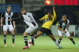 (L-R) Ben Rienstra of Heracles Almelo, Bart Schenkeveld of Heracles Almelo, Rydell Poepon of NAC Breda, Mikhail Rosheuvel of Heracles Almelo