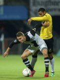 (L-R) Bart Schenkeveld of Heracles Almelo, Rydell Poepon of NAC Breda