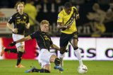 (L-R) Timo Letschert of Roda JC,  Jeffrey Sarpong of NAC Breda