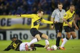 (L-R) Roly Bonevacia of Roda JC, Mats Seuntjens of NAC Breda, referee Tom van Sichem, Joey Suk of NAC Breda