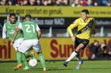 (L-R) Jean-Paul Boetius of Feyenoord, Tony Vilhena of Feyenoord, Uros Matic of NAC Breda