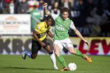 (L-R)  Jeffrey Sarpong of NAC Breda, Daryl Janmaat of Feyenoord