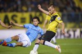 (L-R) Mark van der Maarel of FC Utrecht, Danny Verbeek of NAC Breda 1-0