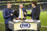 (L-R) analist Eric Meijer of FOX Sports, technical director Graeme Rutjes of NAC Breda, interviewer Jan Joost van Gangelen of FOX Sports