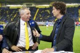(L-R) technical director Graeme Rutjes of NAC Breda, interviewer Jan Joost van Gangelen of FOX Sports